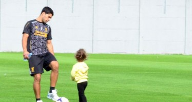 LUIS SUAREZ TRAINS ALONE WITH DAUGHTER