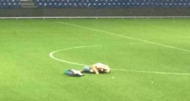 ANGRY COUPLE FILMED HAVING SEX ON A FOOTBALL FIELD AFTER THEIR TEAM WAS HELD TO A DRAW