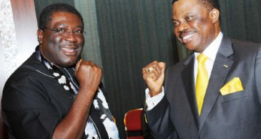EBOLA FEARS: SEE HOW GOV. OBIANO, IMO DEPUTY GOV. EZE MADURE  GREETED EACH OTHER