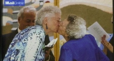 AGED LESBIAN COUPLE WED 72 YEARS AFTER LIVING TOGETHER