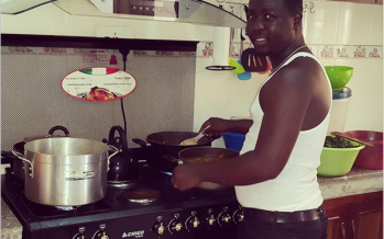 SEYI LAW SHOWS OFF HIS COOKING SKILLS