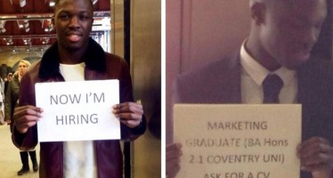 NIGERIAN WHO GOT A JOB AFTER ASKING WITH SIGN AT LONDON TRAIN STATION, RETURNS TO THE SCENE TO HIRE