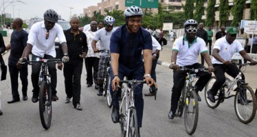 AVIATION MINISTER, OSITA CHIDOKA RIDES BICYCLE TO LAST FEC MEETING