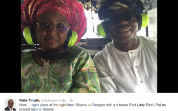 OANDO BOSS, WALE TINUBU TWEETS PIX OF HIMSELF AND BUHARI'S WIFE RIDING IN HELICOPTER
