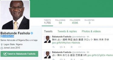Fashola's twitter account hacked
