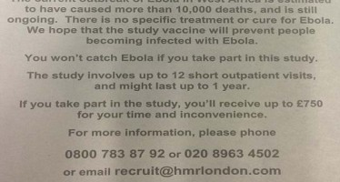 NEWSPAPER AD SEEKS HEALTHY ADULTS TO TEST NEW EBOLA DRUG ON THEM AND RECEIVE N228K EACH