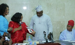 Member, Georgia State Senate, Senator Donzella James (2nd left) representing a book to the Speaker, Lagos State House of Assembly, Rt. Hon. Mudashiru Obasa (2nd right) during Senator James' courtesy visit to the Speaker in his office. Watching with keen interest are: Deputy Speaker, Hon. Wasiu Eshinlokun-Sanni (right) and Senator James's Chief of Staff, Queen Blessing Itua.