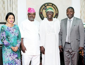 L-R: Member, Lagos State House of Assembly, Princess Adefunmilayo Tejuoso; Assembly Speaker, Rt. Hon. Mudashiru Obasa; ex-Deputy Governor of the State, Otunba Femi Pedro; and another member of the House, Hon Sikiru Adebayo Osinowo when Pedro visited the Assembly on Monday.