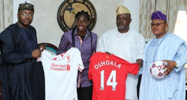 Super Falcons Star, Azeezat Oshoala Visits Lagos Assembly Speaker, Obasa