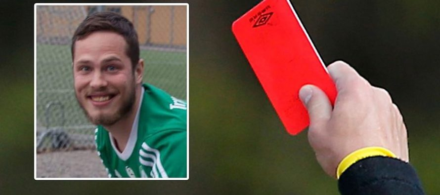 footballer red carded for farting on referee