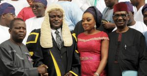 A University don, Prof. Siyan Oyeweso; Speaker, Lagos State House of Assembly, Rt. Hon. Mudashiru Obasa; his wife, Olusola Obasa; and Chairman, Presidential Advisory Committee on Corruption and one of the guest Speaker, Prof Itsay Sagay SAN during a special parliamentary session/lecture to commemorate the first anniversary of the 8th legislative session of the Lagos Assembly in Ikeja on Monday