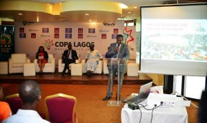 From left: Group Head, Corporate Affairs of First City Monument Bank (FCMB) Limited, Mr. Diran Olojo, speaking during the during press briefing on the 2016 CAF Beach Soccer competition  and COPA Lagos Beach Soccer Tournament.