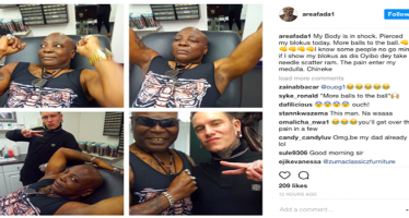 Charly Boy pierces his sexual organ