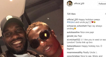 Jay Jay' Okocha shares picture with Wizkid in UK